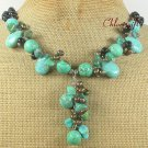 TURQUOISE & BLACK AGATE & FW PEARL NECKLACE