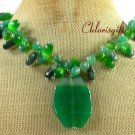 GREEN AGATE KAMBABA JASPER CAT EYE NECKLACE