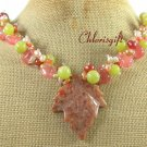 AUTUMN JASPER LEAF OLIVE JADE CHERRY QUARTZ NECKLACE