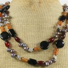 LONG! 40 BLACK RED ORANGE GREY AGATE & PEARL NECKLACE