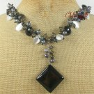 BLACK AGATE CRYSTAL CAT EYE PEARLS NECKLACE