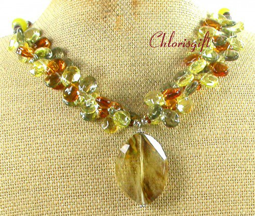 CITRINE QUARTZ CRYSTAL CAT EYE PEARL NECKLACE