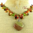 MUGER JASPER TIGER EYE RED CARNELIAN NECKLACE