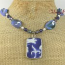 POTTERY SHARD BLUE AGATE PEARLS NECKLACE
