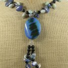 BLUE AGATE AMAZONITE LAZULI LAPIS BLACK AGATE NECKLACE
