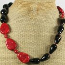 NATURAL BLACK AGATE & RED SPONGE CORAL NECKLACE