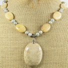 FOSSIL AGATE & YELLOW JADE & FW PEARLS NECKLACE
