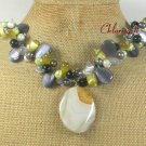 YELLOW AGATE CAT EYE FW PEARL NECKLACE