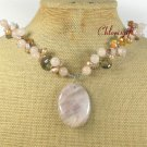 PINK AVENTURINE CRYSTAL FW PEARL NECKLACE