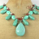 TURQUOISE & RED CARNELIAN & FW PEARL NECKLACE