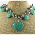 TURQUOISE & FLUORITE & FRESH WATER PEARL NECKLACE