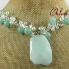 AMAZONITE CLEAR CRYSTAL FRESH WATER PEARLS NECKLACE