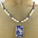 POTTERY SHARD BLUE JADE PEARLS NECKLACE