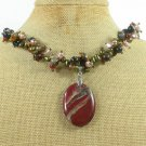 BACCIATED JASPER & TIGER EYE BLACK AGATE PEARL NECKLACE