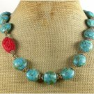 RED CINNABAR & BLUE MOSAIC TURQUOISE NECKLACE