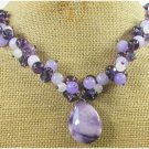 PURPLE JADE & QUARTZ & CRYSTAL & FW PEARL NECKLACE
