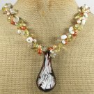 FLOWER LAMPWORK QUARTZ CRYSTAL PEARLS NECKLACE