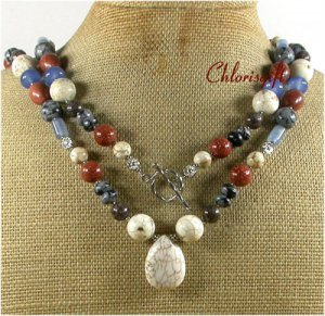 LONG! 40inch WHITE TURQUOISE GOLDSTONE AGATE NECKLACE