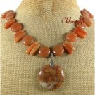 NATURAL BROWN JADE HONEY JADE NECKLACE