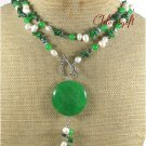 LONG! 40 inch GREEN JADE CORAL FRESH WATER PEARLS NECKLACE