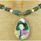 POTTERY SHARD FANCY JASPER PEARL NECKLACE