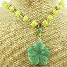 GREEN JADE FLOWER & OLIVE JADE NECKLACE