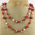LONG! 40 inch RED CORAL WHITE TURQUOISE JASPER NECKLACE