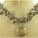 PICTURE JASPER SMOKY CRYSTAL FW PEARL NECKLACE