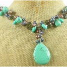 TURQUOISE & SMOKY CRYSTAL & FW PEARL NECKLACE