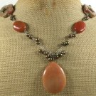 HONEY JADE & AUTUMN JASPER & FW PEARL NECKLACE