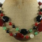 RED BLACK AGATE & YELLOW GREEN JADE 2ROW NECKLACE
