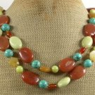 LONG! 40inch HONEY BUTTER JADE TURQUOISE AGATE NECKLACE