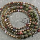 LONG! 40 inch UNAKITE PICTURE JASPER CRYSTAL NECKLACE