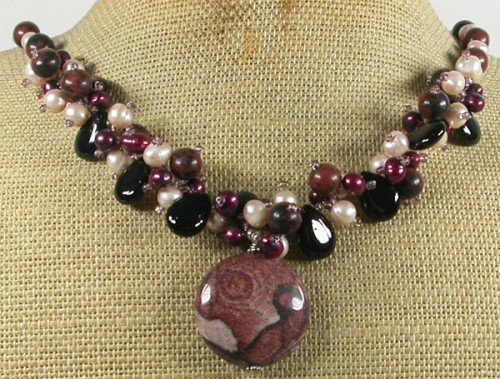 RED BROWN PICTURE JASPER BLACK AGATE PEARLS NECKLACE