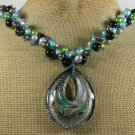 MURANO GLASS BLACK AGATE FRESH WATER PEARLS NECKLACE