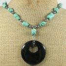 TURQUOISE & BLACK AGATE NECKLACE