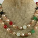 LONG! 40 RED BLACK AGATE & GREEN JADE & PEARL NECKLACE