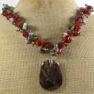 FANCY JASPER RED CARNELIAN LEPIDOLITE NECKLACE