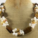 TIGER EYE & CRAZY AGATE & FRESH WATER PEARLS NECKLACE