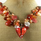 MURANO GLASS & AGATE & QUARTZ & CRYSTAL NECKLACE