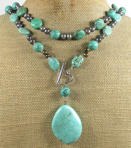 LONG! 40 TURQUOISE & FRESH WATER PEARLS NECKLACE