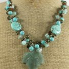 GREEN AVENTURINE LEAF & TURQUOISE & QUARTZ NECKLACE