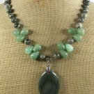 GREEN RUTILATED JASPER & JADE NECKLACE