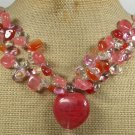 CHERRY QUARTZ & AGATE & CRYSTAL NECKLACE