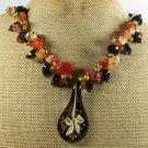 FLOWER LAMPWORK & AGATE & CITRINE & PEARL NECKLACE