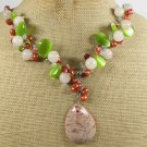 AUTUMN JASPER & AGATE & CAT EYE & PEARLS NECKLACE