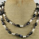 "LONG! 40"" BLACK CAT EYE & FRESH WATER PEARLS NECKLACE"