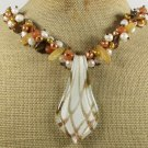 MURANO GLASS HONEY JADE TIGER EYE PEARLS NECKLACE