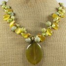 YELLOW AGATE OLIVE CORAL CAT EYE FW PEARLS NECKLACE