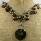 FIRE AGATE RUTILATED JASPER TIGER EYE PEARLS NECKLACE